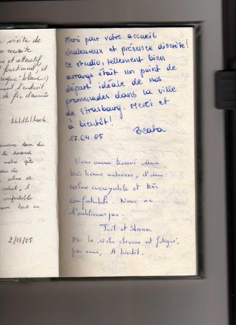 livre d'or gite de standing strasbourg (commentaire)