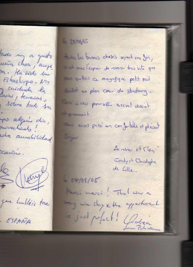 livre d'or gite de standing strasbourg (Cindy et christophe)