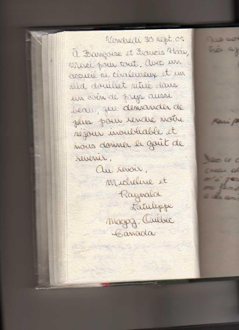 livre d'or gite de standing strasbourg (Micheline et Raynald latulippe)