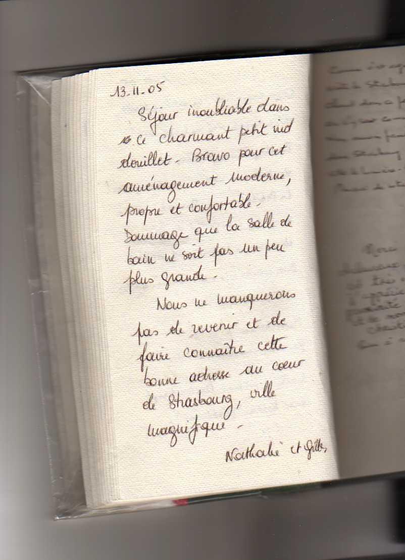 livre d'or gite de standing strasbourg (Nathalie et Gilles)