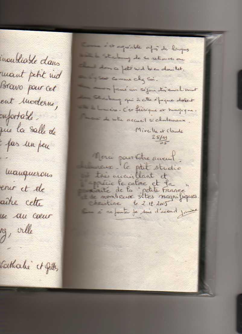livre d'or gite de standing strasbourg (Mireille et Claude, jeanine)