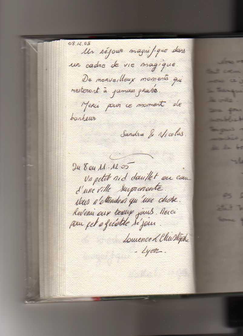 livre d'or gite de standing strasbourg (Sandra et Nicolas, Laurence et Christophe