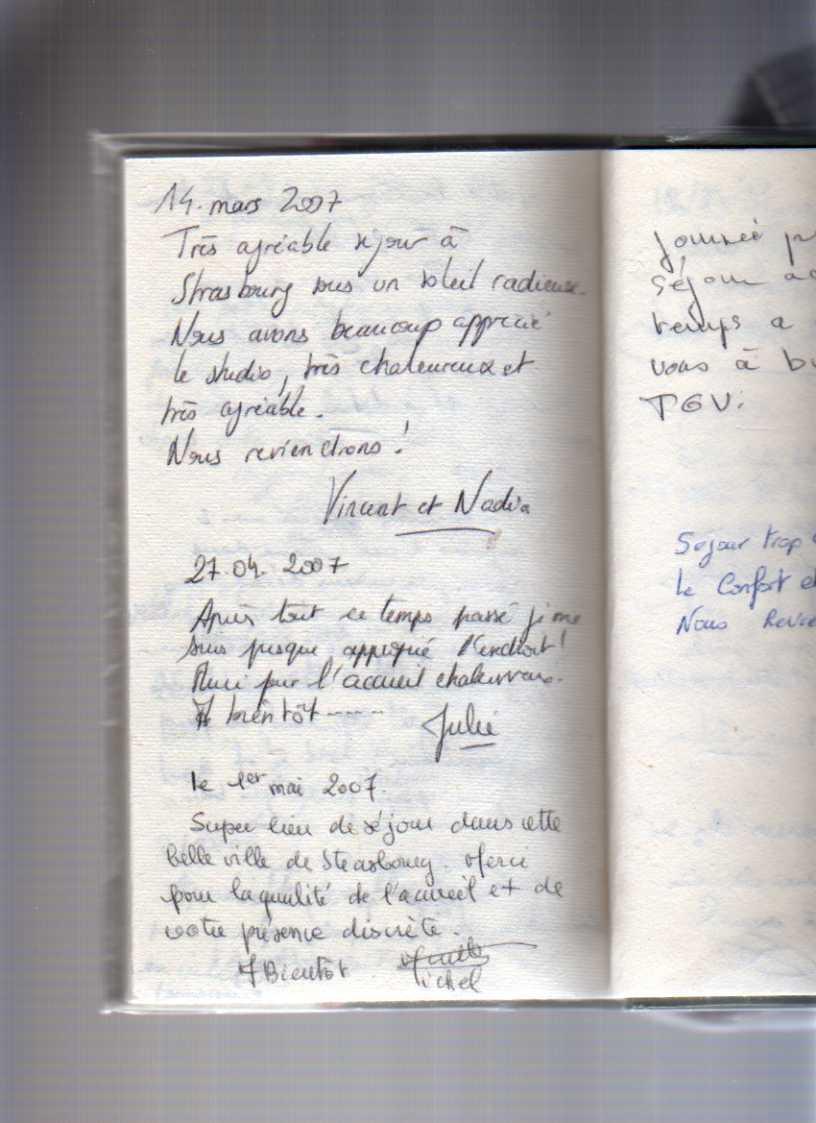 livre d'or gite de standing strasbourg (commentaire d'un couple canadien)